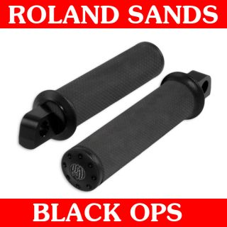 Roland Sands Design Black Ops Tracker Foot Pegs 45deg for Harley