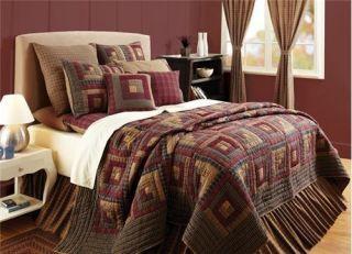 Millsboro Log Cabin Patchwork Quilt & Sham Bedding Set TWIN Burgundy