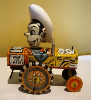 Vintage Milton Berle Tin Toy Marx Crazy Car 1950s Wind Up Toy