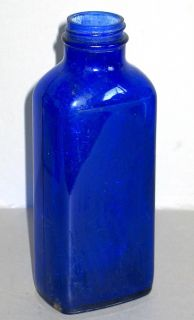 Cobalt Blue Glass Milk of Magnesia Vintage Bottle