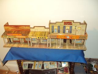 Marx 1950s Tin Roy Rogers Mineral City Street Side Playset Building