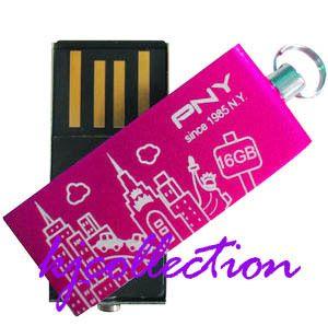 PNY 16GB 16g USB Flash Drives Mini Stick Strap NY Pink