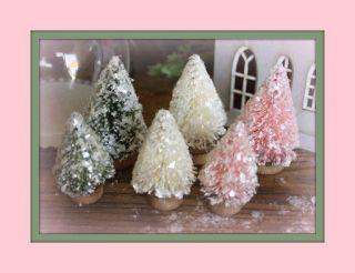 Mini Bottlebrush Christmas Trees by Melissa Frances in Shabby Colors