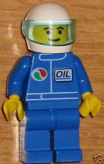 Lego Mini Fig NASCAR Race Car Driver Blue w Helmet