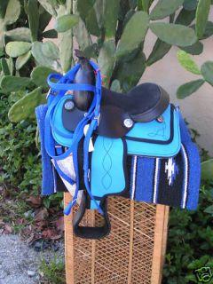 Miniature Mini Horse Turq Blue 8 Western Saddle Pkg