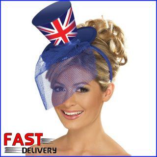 Mini Union Jack Top Hat with Veil Headband Diamond Jubilee Olympic