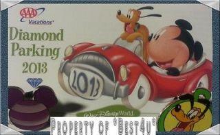 2013 AAA Diamond Pass Disney World VIP Parking Ticket  CLOSE UP FRONT