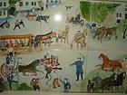 PORTUGAL 6 CERAMIC TILE FOLK ART HORSE & VILLAGE SCENE WOODEN HANDLED