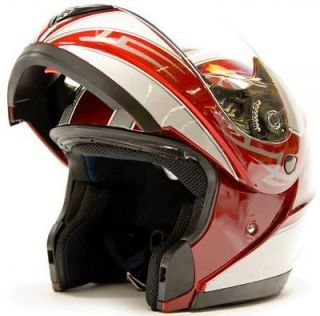 FLIP UP MODULAR Motorcycle Helmet DOT   RED Sizes S   XXL CLEARANCE