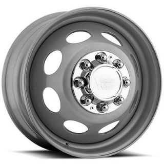 19.5x6.75 Silver Vision Heavy Hauler Dually Front Wheels 8x210 +135
