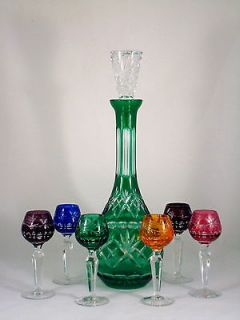 Tall Emerald Green Crystal Cut to Clear Glass Decanter & Lausitzer