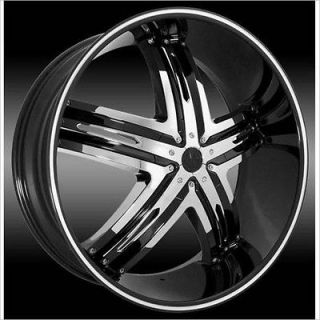 24 inch Envious Black Wheels Rims 6x5 6x127 +25 / Trailblazer GMC