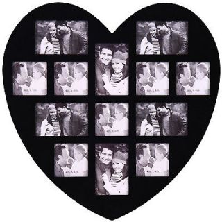 13 Opening Heart Shaped Black Wooden Wall Art Collage Photo Picture