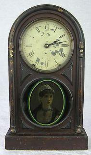 1875? Antique Seth Thomas 8 Day Mantle Shelf Clock Reverse Glass