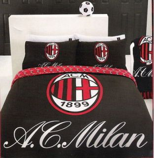 MILAN AC Football Club Black/Red/Whit e QUEEN Quilt/Doona Cover Set