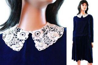Cobalt Blue Velvet Dress White Lace Collar Girls Sz 14 Saks 5th Ave