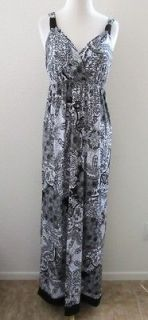 AB Studio Long Maxi Full Length Dress Sz L Black White Lace Print