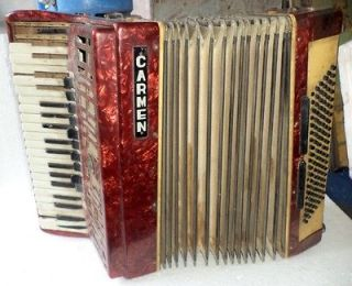 Vintage Hohner Carmen Accordion W/ Case Germany Pok 72 Nr 3017