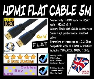 5m Flat Gold High Quality HDMI Cable Black Lead Wire 1080p   HMDI