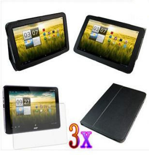 Acer Iconia Tab A200 Tablet Leather Folio Case Cover+Screen Protector