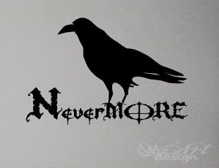 NEVER MORE WALL DECAL LETTERING vinyl sticker CROW CORBEAU RELIGION