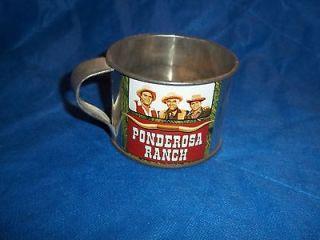 Vintage Bonanza Ponderosa Ranch Tin 3 Bust Cup Nevada USA