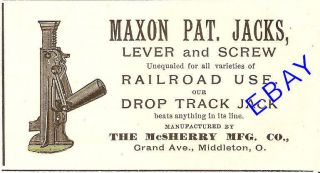 1895 MCSHERRY MAXON LEVER & SCREW JACK AD MIDDLETON OH