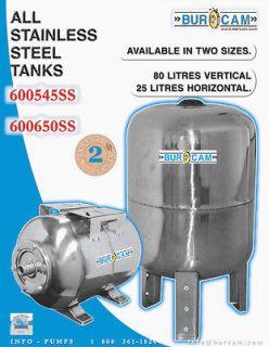 Gal Stainless Steel Vertical Air Pressure Bladder Well Tank 600545SS