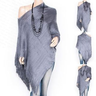 Fabulous Gray Faux Fur One Shoulder Angled Hem Fringes Poncho Top S