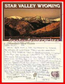 Post Card WY Caribou Mountains Viewing Star Valley WYOMING 1994?