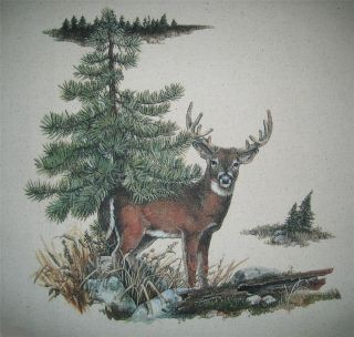 Whitetail DEER Buck in Meadow~ Fabric Quilt Panel~ Wildlife, Evergreen