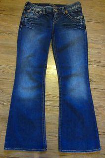 Womens Silver Jeans Aiko Flare Sz 29 x 31 Dark Wash Fade Lightly