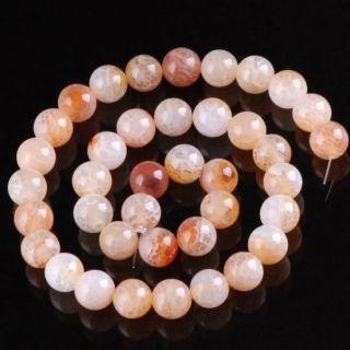 FOR New Year Tibet Light Pink Veins .4 Gem Beads Buddhist Prayer Mala