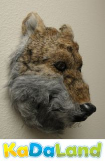 Wolf Head Mount Furry Animal Replica Coyote Indian Hanger Taxidermy