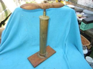 Antique Boekel & Co brass & wood bike or auto CAR tire hand air pump
