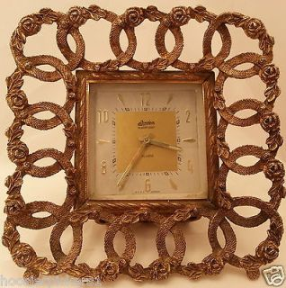 VINTAGE LINDEN BLACKFOREST ALARM CLOCK IN BRASS ORNATE FRAME 5 1/2