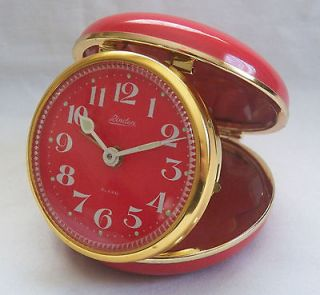 1950S LINDEN RED & BRASS, GLOW, TRAVEL ALARM CLOCK. MADE IN JAPAN