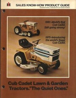1975 International Harvester Cub Cadet Sales Know How Product Guide