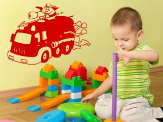 Ƹ̵̡Ӝ̵̨̄Ʒ Fire Truck Engine Kids Room Wall Sticker Decor