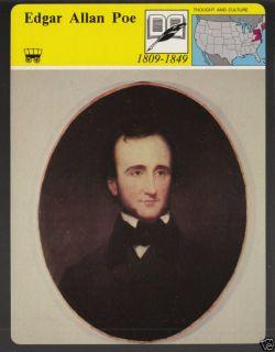 EDGAR ALLAN POE Author Portrait Biography PICTURE CARD