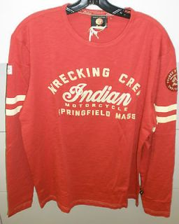 Mens Indian Motorcycle Wrecking Crew L/S Shirt Red / XXL NWT