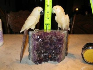 Hand carved Amethyst Parrots love birds EPIC VALENTINE GIFT base