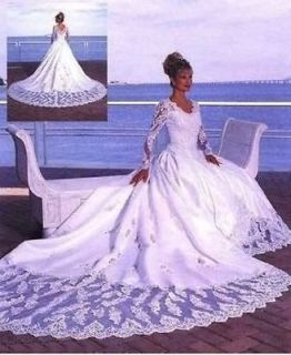 Sexy Long Sleeves Bridal Wedding Dress with Large Train