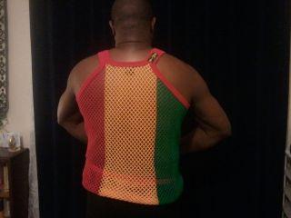 MENS MESH STRING LONG VEST MEDIUM LARGE XL RASTA JAMAICAN STRIPE