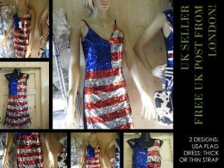 LADIES CUTE USA AMERICAN FLAG SEQUIN BLING PARTY SEXY DRESS FANCY