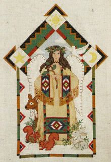 Natures Angel Native American Indian Woman Animals Counted Cross
