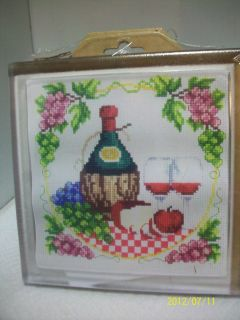 MCG TEXTILES CROSS STITCH KIT WINE AND GRAPES TRIVET, HOT PLATE 6X6