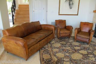 UNCOMMON ORIGINAL 1930 40s FRENCH ART DECO MOUSTACHE SET OF SOFA + 2