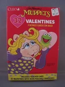 MUPPET VALENTINES DAY CARDS Kermit Miss Piggy Animal Vintage 1990