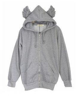 B43 cute girl GRAY angel wings sport hoodies sweater jacket outwear